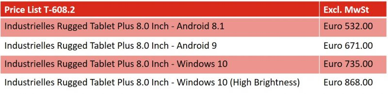 Price List Rugged Tablet T-608.2